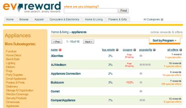 Screenshot of ev'reward appliances page
