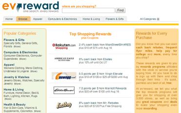 Screenshot of ev'reward categories