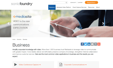 Screenshot from the Business Solutions page on Sonic Foundry