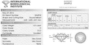 An example of an IGI Diamond Identification Report
