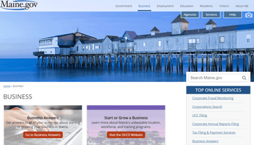 Screenshot of the Business Portal at Maine.gov