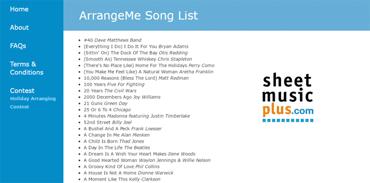 Screenshot of the ArrangeMe song list