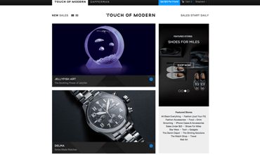 A screenshot of products on the Touch of Modern website