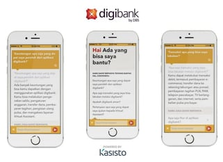 Screenshots of KAI digibank interface on mobile devices