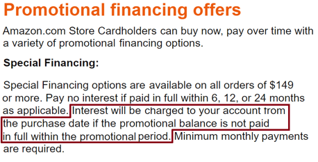 Screenshot of Amazon.com Credit Card Special Financing Page