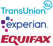 Logos for Experian, Equifax, and TransUnion
