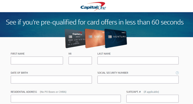 Screenshot of Capital One Pre-Approval Page
