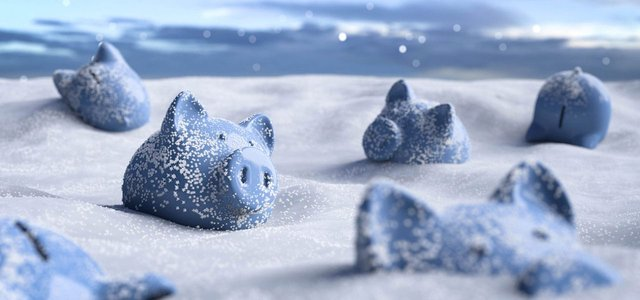 Image of piggy banks in the snow