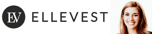 Ellevest logo and photo of Chief Product Officer Alexandria Stried