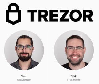 """Trezor logo and Founders Marek """"Slush"""" Palatinus and Pavol """"Stick"""" Rusnák"""
