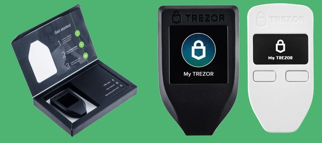 Collage of Trezor hardware wallet products