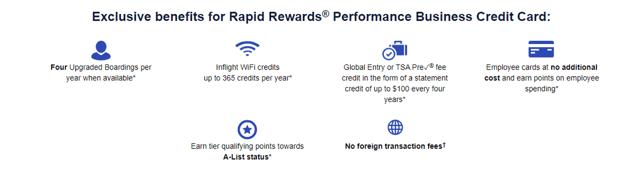 Rapid Rewards Performance Business Credit Card Benefits