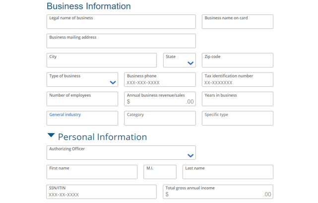 Screenshot of Small Business Credit Card Application