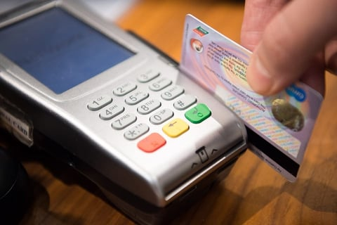 Photo of a credit card being swiped