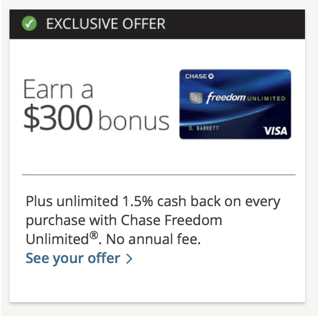 Screenshot of Chase Selected for You Offer
