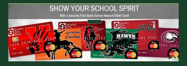 Screenshot of school spirit debit card banner