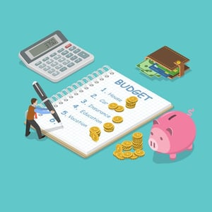 Family Budget Flat Isometric Vector Concept
