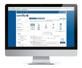 Photo of Certify Travel on a Computer Screen
