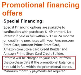 Screenshot of Amazon Deferred Interest Policy
