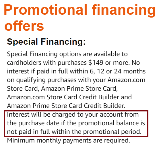 Amazon Store Card Promotional Financing Terms
