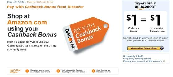 Screenshot of Discover Cashback Landing Page on Amazon.com