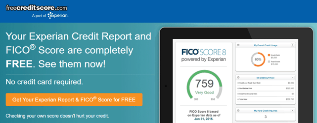 Screenshot of Experian Free Credit Score Site