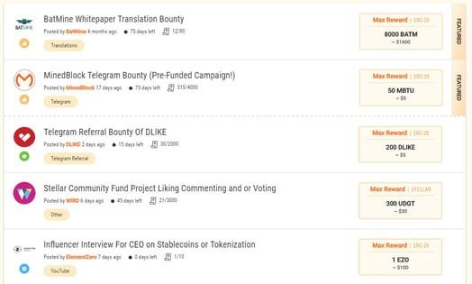 Screenshot of the Bounty0x platform