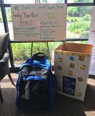 Photo of BackPack Attack donation station in IMCU branch