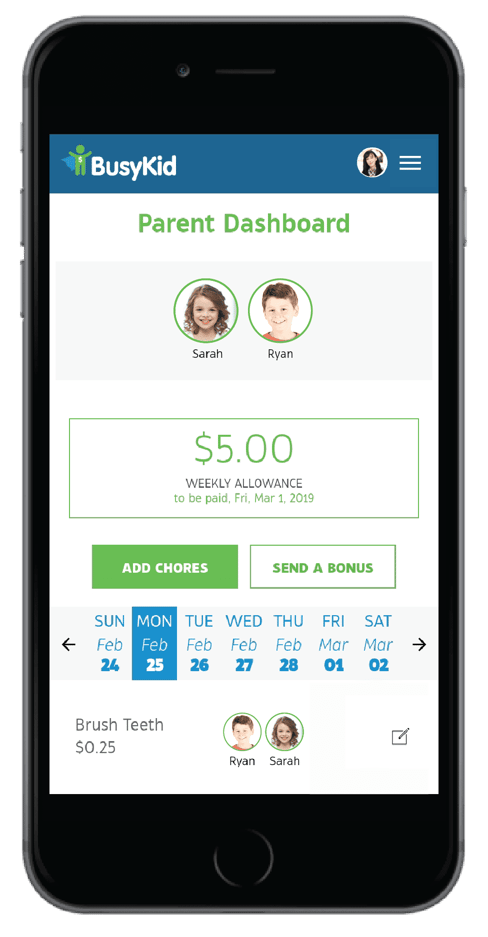 BusyKid Parent Dashboard on Mobile