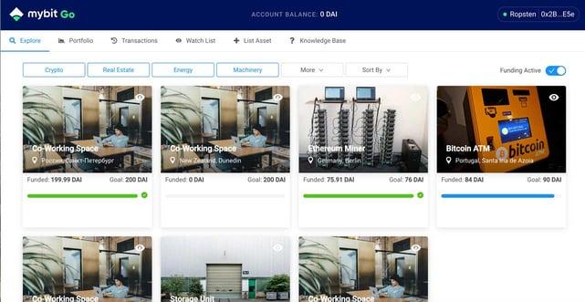 Screenshot of MyBit Go interface
