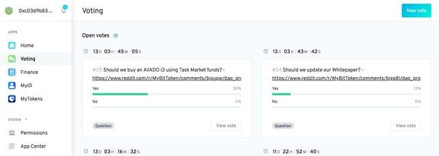 Screenshot of MyBit DAO dashboard