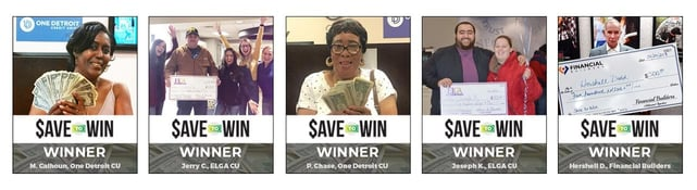 Collage of photos of Save to Win winners