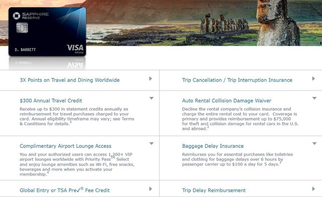 Screenshot of Chase Sapphire Reserve Benefits