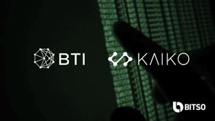 Bitso, Kaiko, and BTI Partnership Graphic