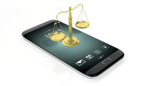 Scales of Justice on Mobile Phone Image