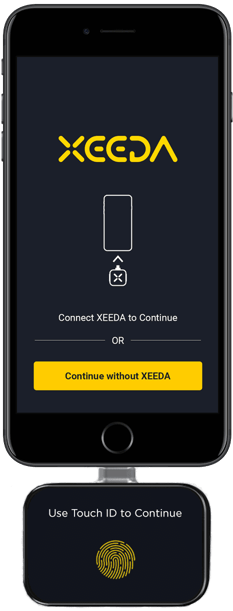Image of the Xeeda Hardware connected to an iPhone