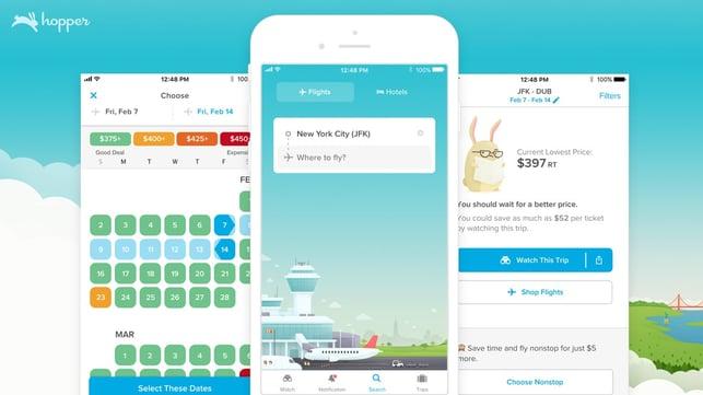 Screenshots of the Hopper app on iOS