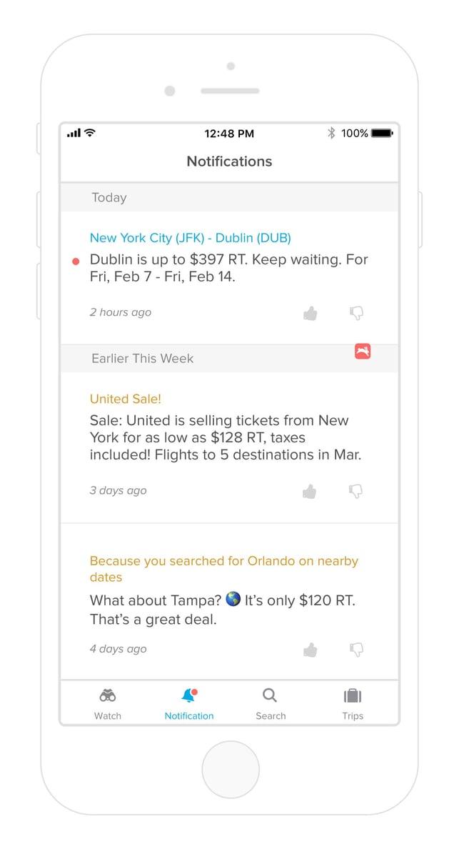 Screenshot of Hopper notifications on iOS