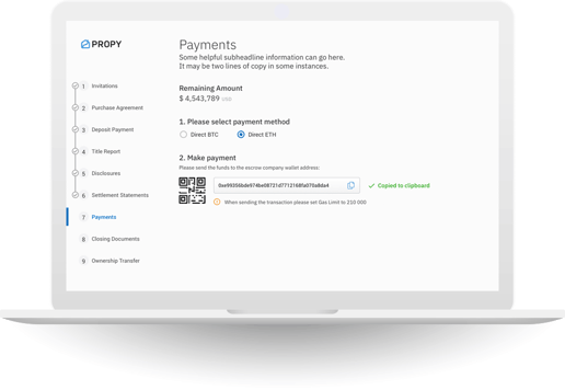 Screenshot of Propy Payments on a Laptop