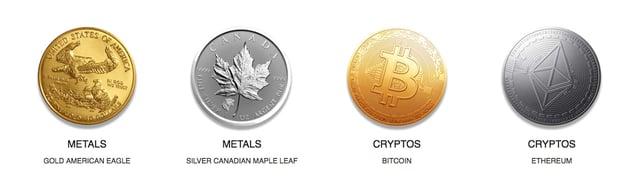 Screenshot of precious metals and cryptocurrencies