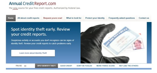 Screenshot of AnnualCreditReport.com
