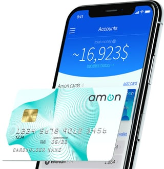 Photo of Amon debit card with mobile wallet platform