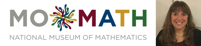 MoMath logo and CEO and Executive Director Cindy Lawrence