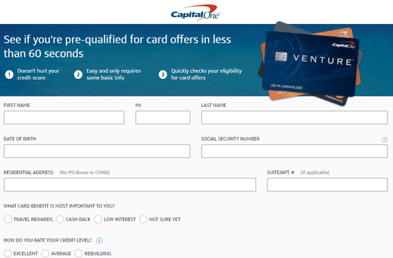 Screenshot of the Capital One Pre-Qualification Application