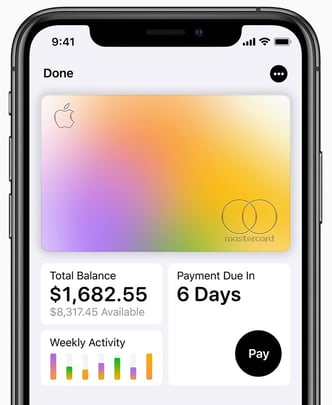 Screenshot from the Apple website of the Apple Card on an iPhone
