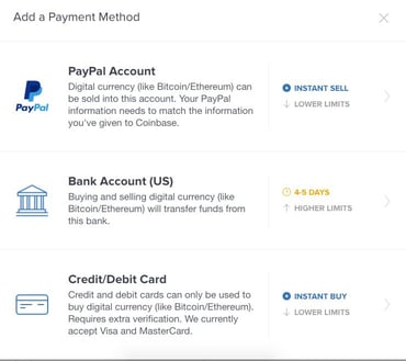 Coinbase Add a Payment Method Screenshot