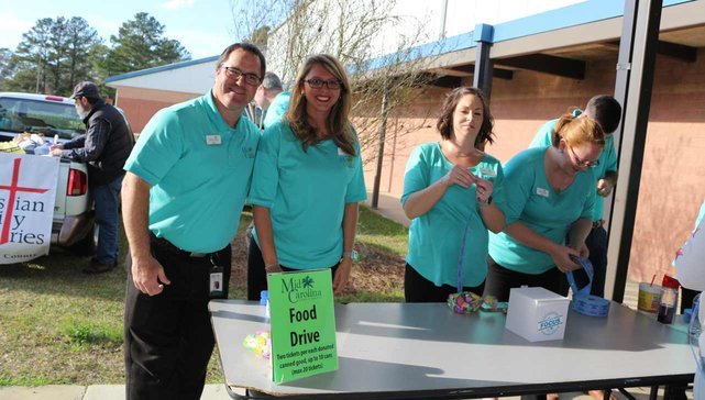 Photo of Mid Carolina CU employees at a food drive