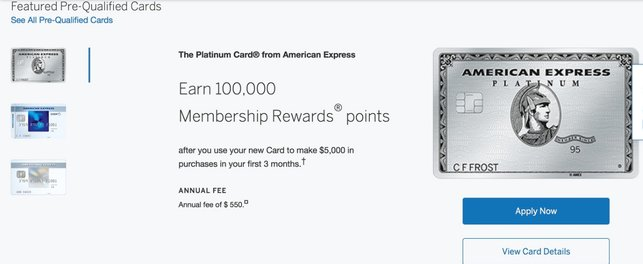 Screenshot of 100,000-Point Amex Platinum Offer