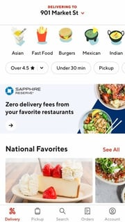 Screenshot of DoorDash App