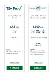 TSA PreCheck™ and Global Entry Price Comparison